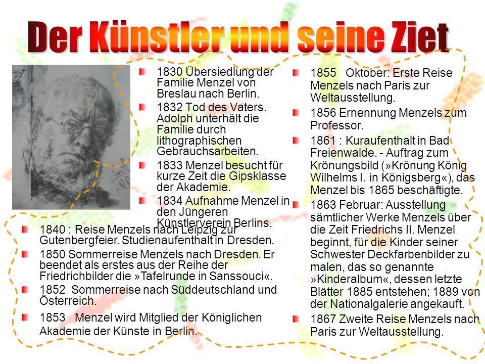1830 Übersiedlung der Familie Menzel von Breslau nach Berlin.