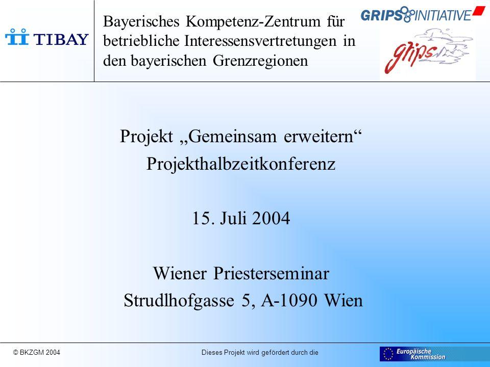 """© BKZGM 2004 Dieses Projekt wird gefördert durch die Bayerisches Kompetenz-Zentrum für betriebliche Interessensvertretungen in den bayerischen Grenzregionen Projekt """"Gemeinsam erweitern Projekthalbzeitkonferenz 15."""