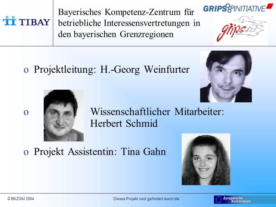 © BKZGM 2004 Dieses Projekt wird gefördert durch die Bayerisches Kompetenz-Zentrum für betriebliche Interessensvertretungen in den bayerischen Grenzregionen Projektpartner: TIBAY e.