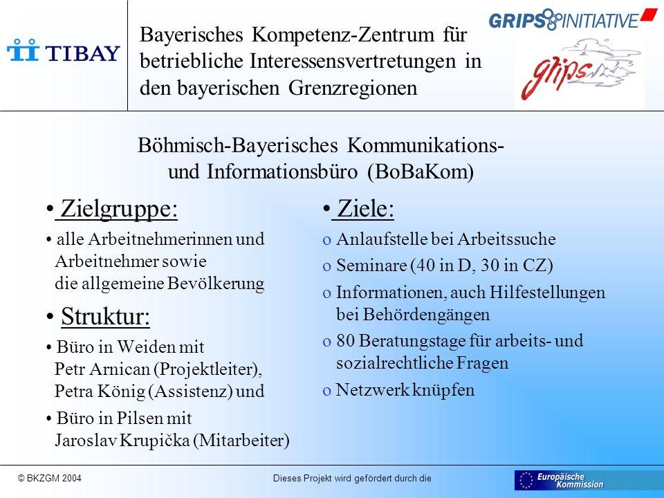 © BKZGM 2004 Dieses Projekt wird gefördert durch die Gemeinsame Aktivitäten und Netzwerkaufbau Grips und BoBaKom 1.