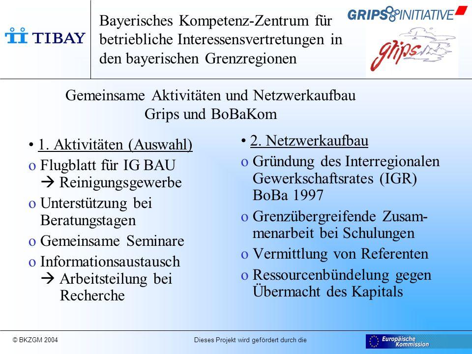 © BKZGM 2004 Dieses Projekt wird gefördert durch die Arbeits- und Zeitplan ArbeitsmarktmonitoringStrukturentwicklungBetriebliche Modernisierung o Migration und Pendler (Studie) o Migration und Pendler (28.