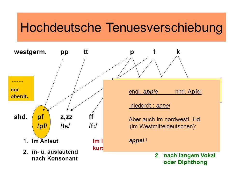 im Inlaut nach kurzem Vokal 1.im Auslaut 2.nach langem Vokal oder Diphthong 1.im Anlaut 2.in- u. auslautend nach Konsonant nur oberdt. westgerm.ppttpt