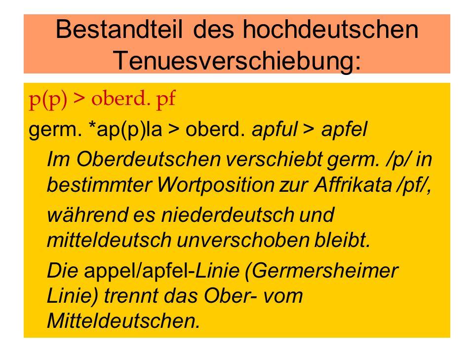 p(p) > oberd. pf germ. *ap(p)la > oberd. apful > apfel Im Oberdeutschen verschiebt germ. /p/ in bestimmter Wortposition zur Affrikata /pf/, während es