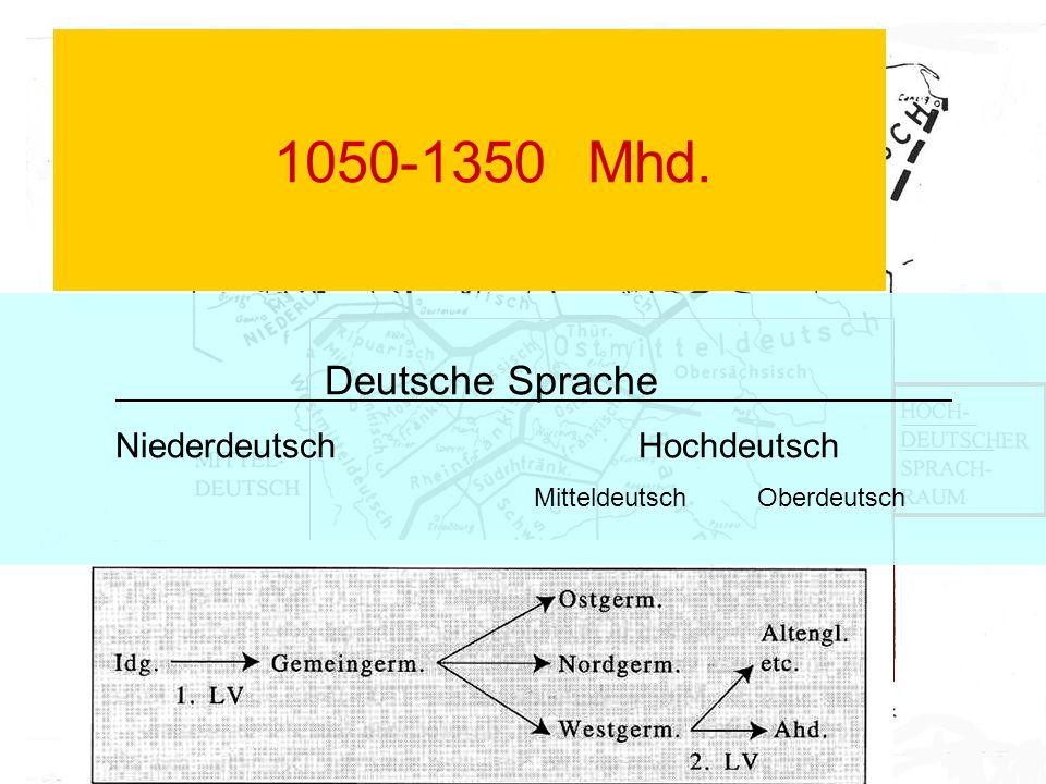 1050-1350Mhd. Deutsche Sprache NiederdeutschHochdeutsch Mitteldeutsch Oberdeutsch
