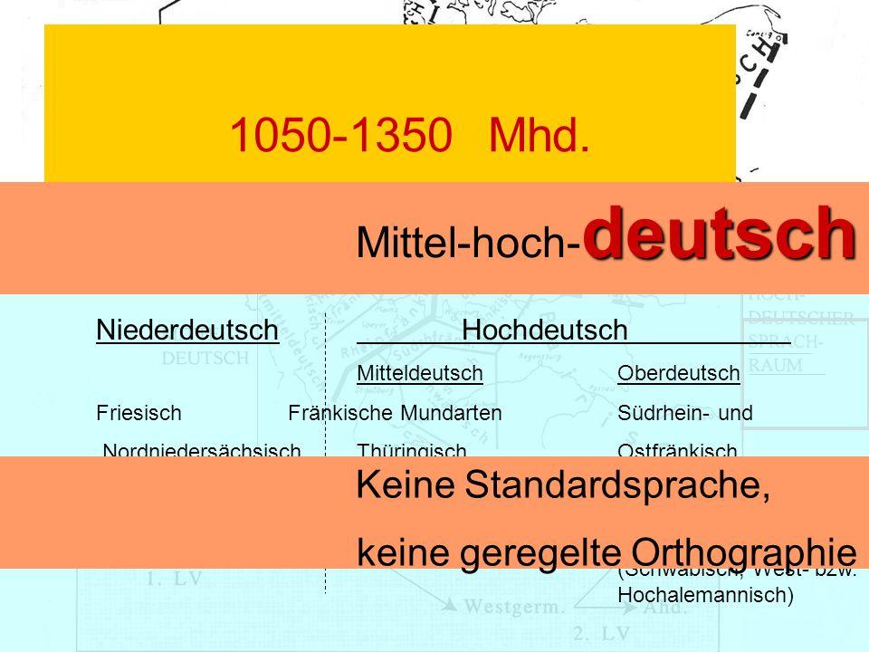 1050-1350Mhd. Deutsche Sprache Niederdeutsch Hochdeutsch Mitteldeutsch Oberdeutsch Friesisch Fränkische MundartenSüdrhein- und Nordniedersächsisch Thü