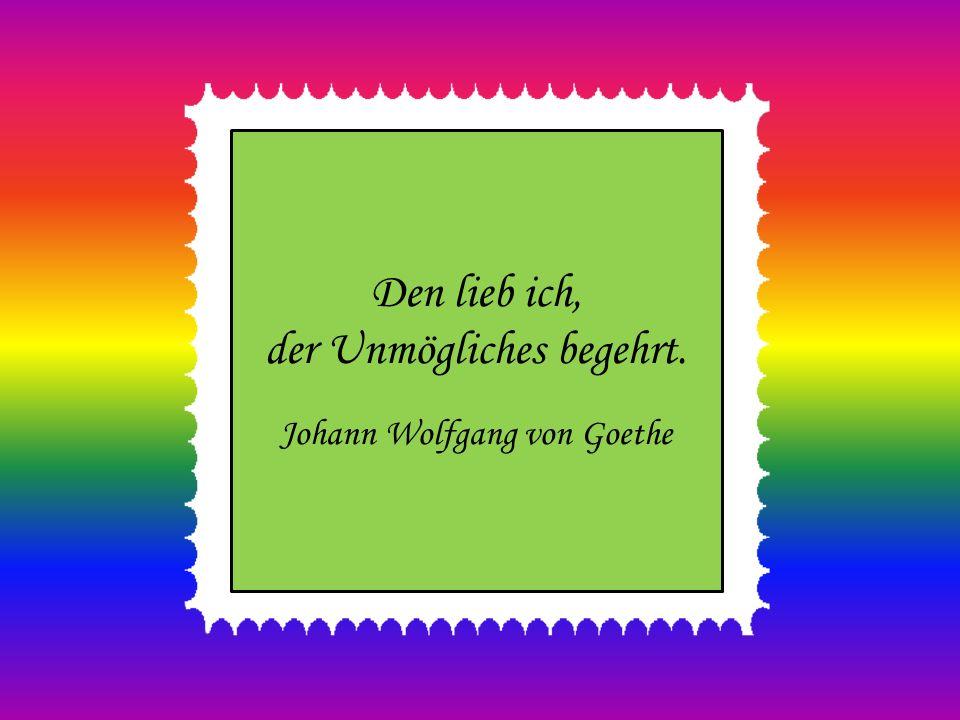 Den lieb ich, der Unmögliches begehrt. Johann Wolfgang von Goethe