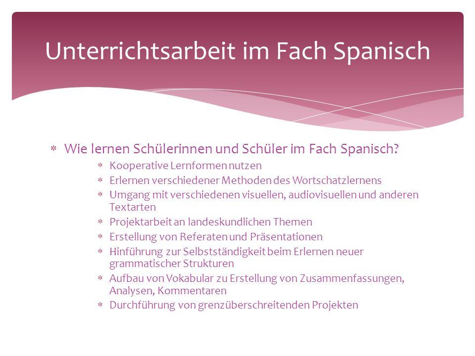  Wie lernen Schülerinnen und Schüler im Fach Spanisch.
