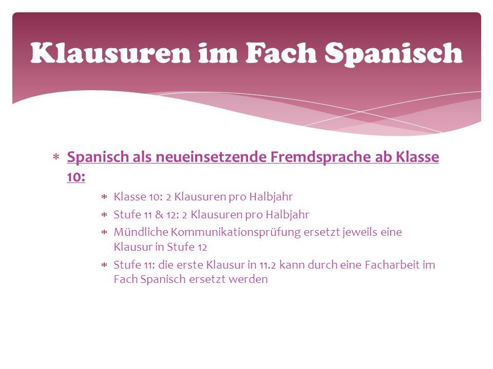  Spanisch als neueinsetzende Fremdsprache ab Klasse 10:  Klasse 10: 2 Klausuren pro Halbjahr  Stufe 11 & 12: 2 Klausuren pro Halbjahr  Mündliche Kommunikationsprüfung ersetzt jeweils eine Klausur in Stufe 12  Stufe 11: die erste Klausur in 11.2 kann durch eine Facharbeit im Fach Spanisch ersetzt werden Klausuren im Fach Spanisch