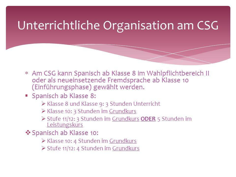  Am CSG kann Spanisch ab Klasse 8 im Wahlpflichtbereich II oder als neueinsetzende Fremdsprache ab Klasse 10 (Einführungsphase) gewählt werden.