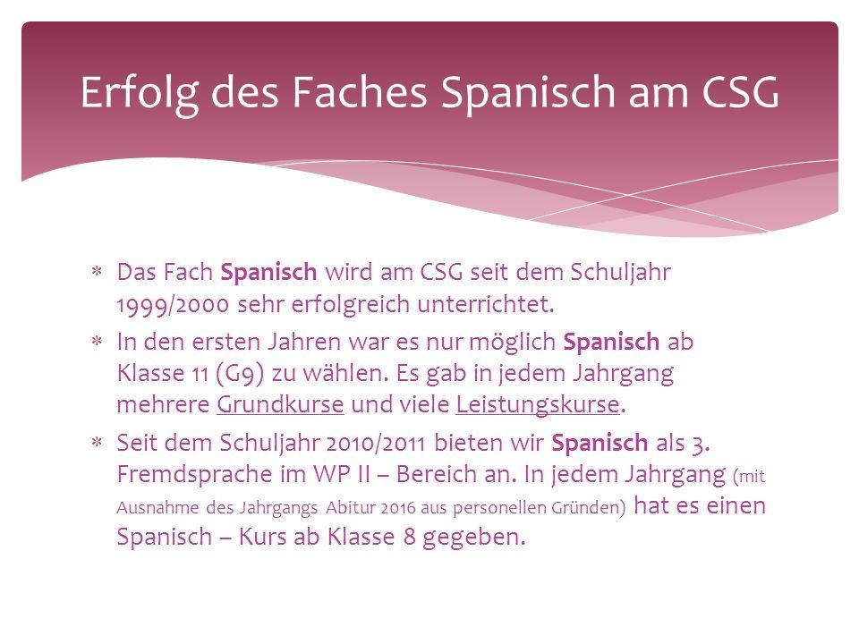  Das Fach Spanisch wird am CSG seit dem Schuljahr 1999/2000 sehr erfolgreich unterrichtet.
