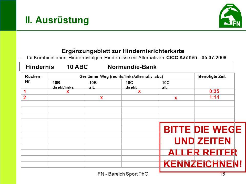 FN - Bereich Sport PhG16 Ergänzungsblatt zur Hindernisrichterkarte - für Kombinationen, Hindernisfolgen, Hindernisse mit Alternativen -CICO Aachen – 05.07.2008 BITTE DIE WEGE UND ZEITEN ALLER REITER KENNZEICHNEN.