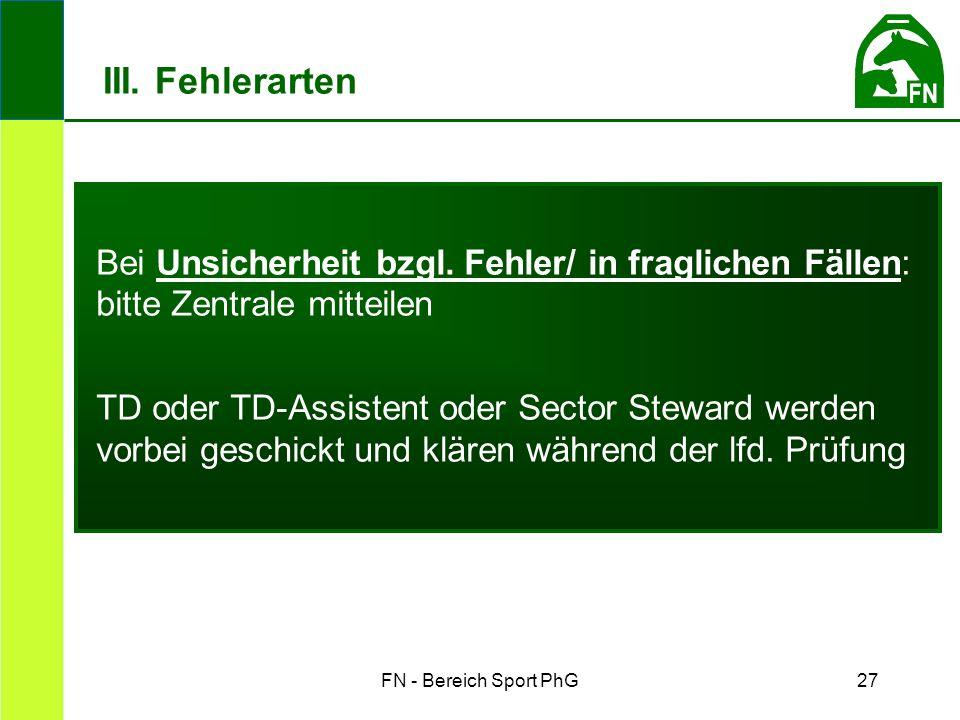 FN - Bereich Sport PhG27 Bei Unsicherheit bzgl. Fehler/ in fraglichen Fällen: bitte Zentrale mitteilen TD oder TD-Assistent oder Sector Steward werden