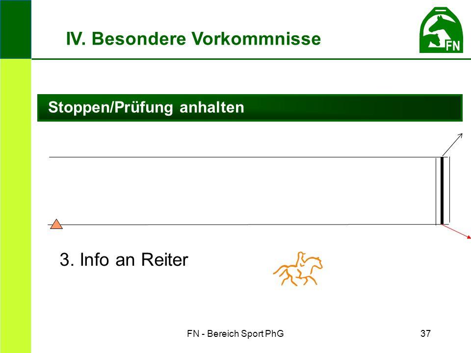 FN - Bereich Sport PhG37 Stoppen/Prüfung anhalten IV. Besondere Vorkommnisse 3. Info an Reiter