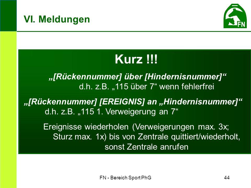 """FN - Bereich Sport PhG44 Kurz !!. """"[Rückennummer] über [Hindernisnummer] d.h."""