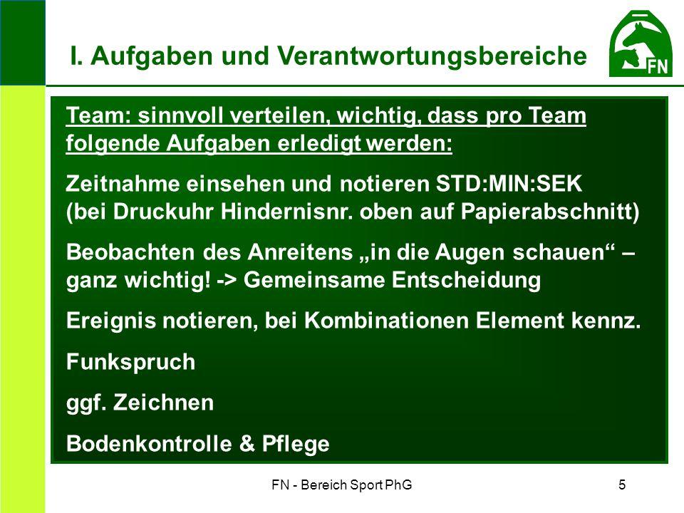 FN - Bereich Sport PhG5 Team: sinnvoll verteilen, wichtig, dass pro Team folgende Aufgaben erledigt werden: Zeitnahme einsehen und notieren STD:MIN:SEK (bei Druckuhr Hindernisnr.