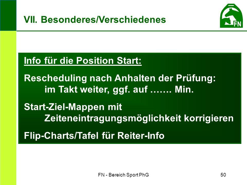 FN - Bereich Sport PhG50 Info für die Position Start: Rescheduling nach Anhalten der Prüfung: im Takt weiter, ggf.