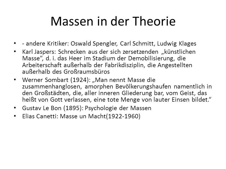 """Massen in der Theorie - andere Kritiker: Oswald Spengler, Carl Schmitt, Ludwig Klages Karl Jaspers: Schrecken aus der sich zersetzenden """"künstlichen Masse , d."""