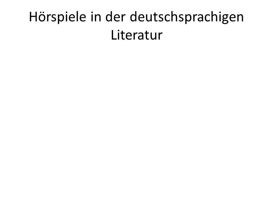 Hörspiele in der deutschsprachigen Literatur