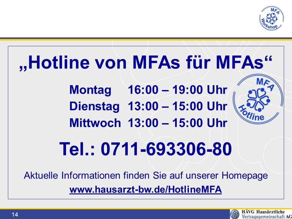 """14 """"Hotline von MFAs für MFAs Montag16:00 – 19:00 Uhr Dienstag 13:00 – 15:00 Uhr Mittwoch13:00 – 15:00 Uhr Tel.: 0711-693306-80 Aktuelle Informationen finden Sie auf unserer Homepage www.hausarzt-bw.de/HotlineMFA"""