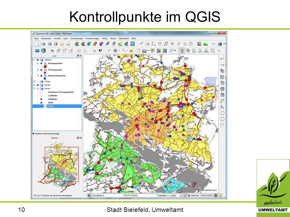 Stadt Bielefeld, Umweltamt10 Kontrollpunkte im QGIS