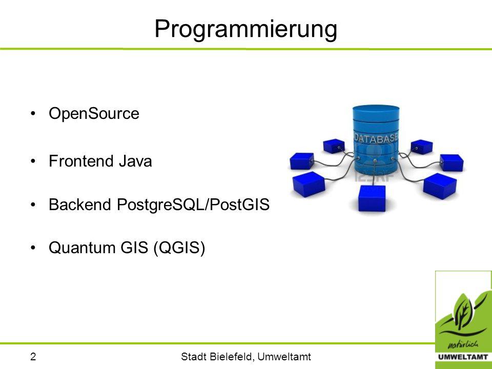 Stadt Bielefeld, Umweltamt3 OpenSource Der Anwender hat das Recht die Software nach Belieben weiterzugeben; die Quelltexte zu erhalten; die Software zu verändern und in veränderter Form weiterzugeben; die Software für jeden Zweck einzusetzen.