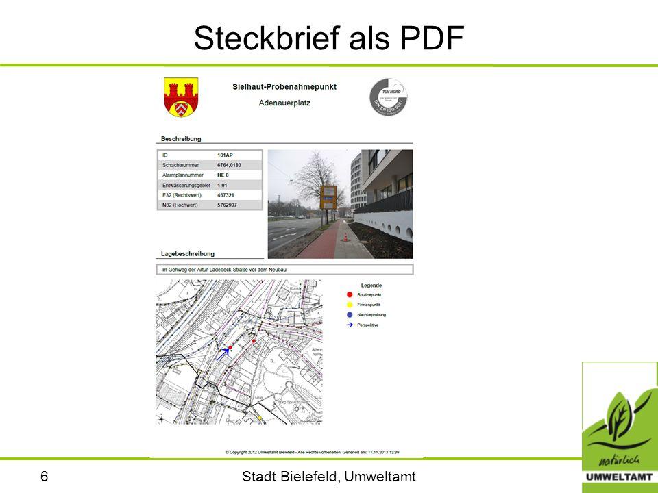 Stadt Bielefeld, Umweltamt7 Messwerte der Probenahmen