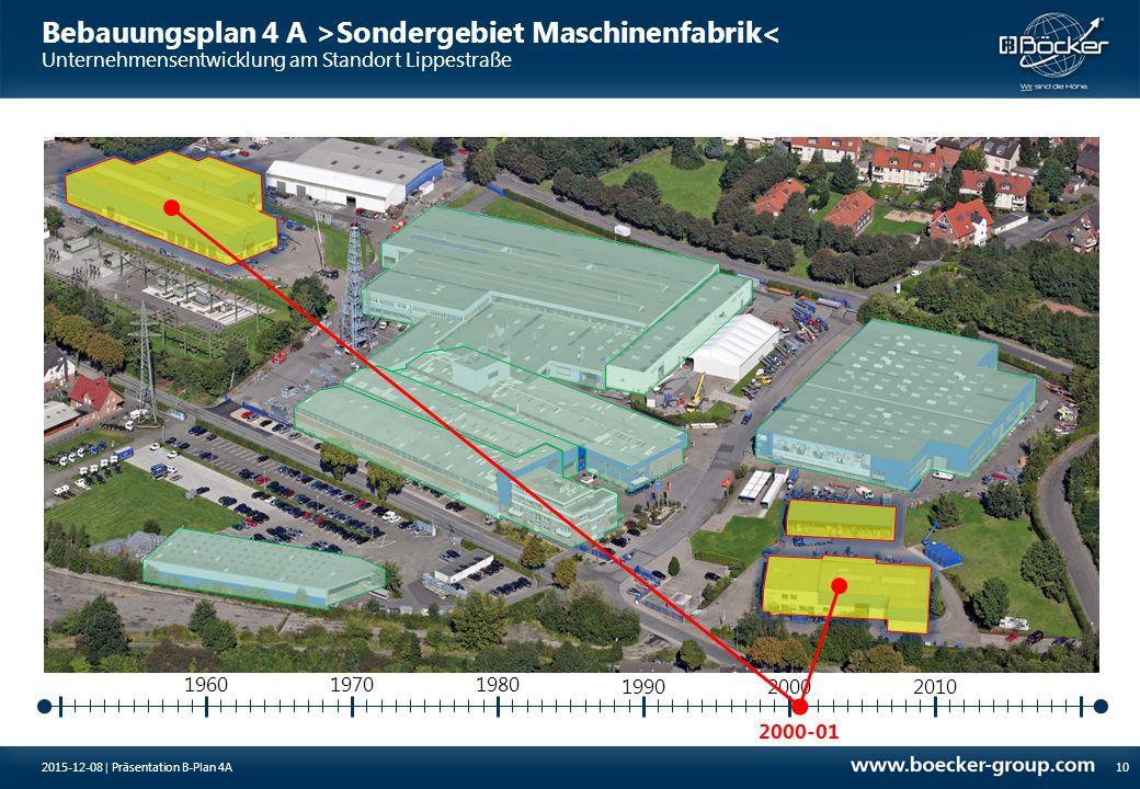 Bebauungsplan 4 A >Sondergebiet Maschinenfabrik< Unternehmensentwicklung am Standort Lippestraße 2000-01 19701980 10 1960 199020002010 2015-12-08 | Pr