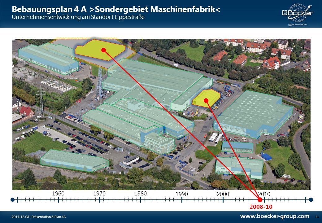 Bebauungsplan 4 A >Sondergebiet Maschinenfabrik< Unternehmensentwicklung am Standort Lippestraße 2008-10 19701980 11 1960 199020002010 2015-12-08 | Pr