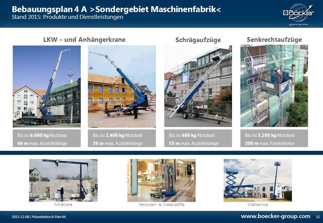 Bebauungsplan 4 A >Sondergebiet Maschinenfabrik< Stand 2015: Produkte und Dienstleistungen 12 Personen- & Materiallifte Minikrane Mietservice LKW – un