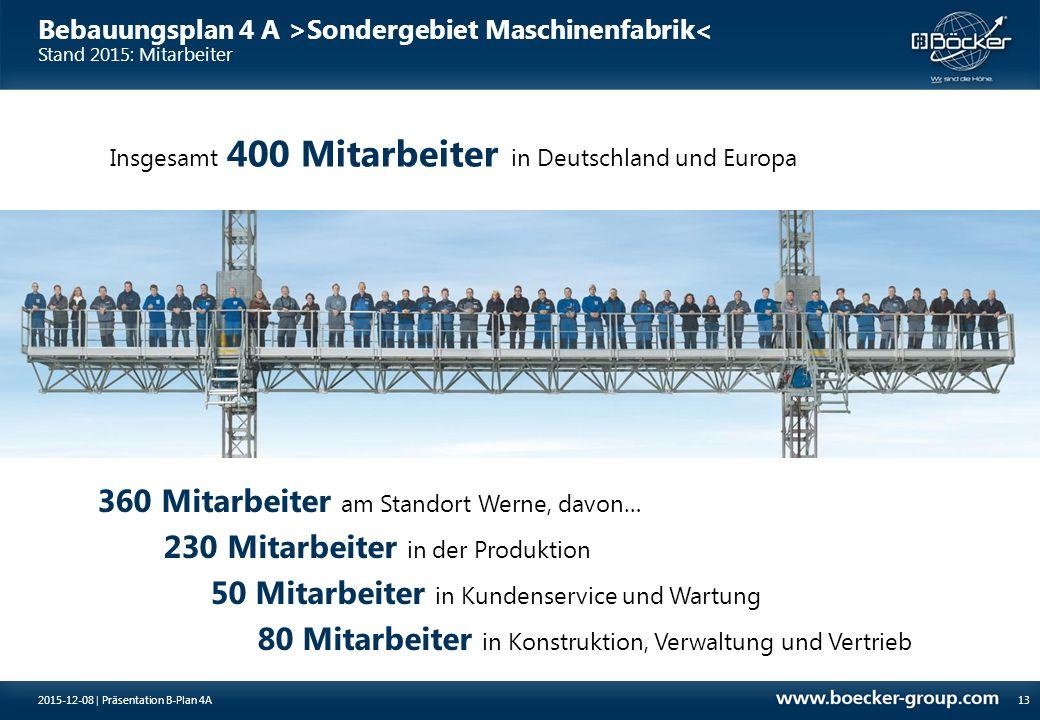 Bebauungsplan 4 A >Sondergebiet Maschinenfabrik< Stand 2015: Mitarbeiter 13 360 Mitarbeiter am Standort Werne, davon… 230 Mitarbeiter in der Produktio