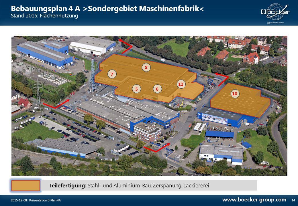 Bebauungsplan 4 A >Sondergebiet Maschinenfabrik< Stand 2015: Flächennutzung 142015-12-08 | Präsentation B-Plan 4A Teilefertigung: Stahl- und Aluminium