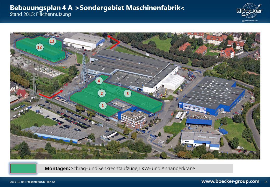 Bebauungsplan 4 A >Sondergebiet Maschinenfabrik< Stand 2015: Flächennutzung 152015-12-08 | Präsentation B-Plan 4A Montagen: Schräg- und Senkrechtaufzü