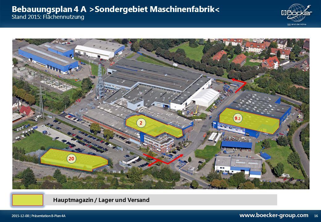 Bebauungsplan 4 A >Sondergebiet Maschinenfabrik< Stand 2015: Flächennutzung 162015-12-08 | Präsentation B-Plan 4A Hauptmagazin / Lager und Versand 2 9
