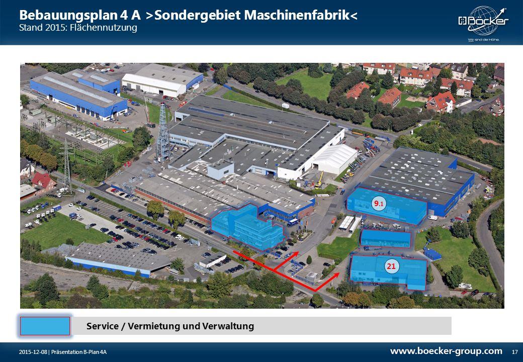 Bebauungsplan 4 A >Sondergebiet Maschinenfabrik< Stand 2015: Flächennutzung 172015-12-08 | Präsentation B-Plan 4A Service / Vermietung und Verwaltung