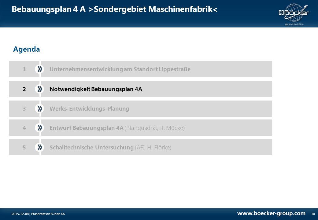 Bebauungsplan 4 A >Sondergebiet Maschinenfabrik< 18 Agenda 1Unternehmensentwicklung am Standort Lippestraße Notwendigkeit Bebauungsplan 4A2 3Werks-Ent