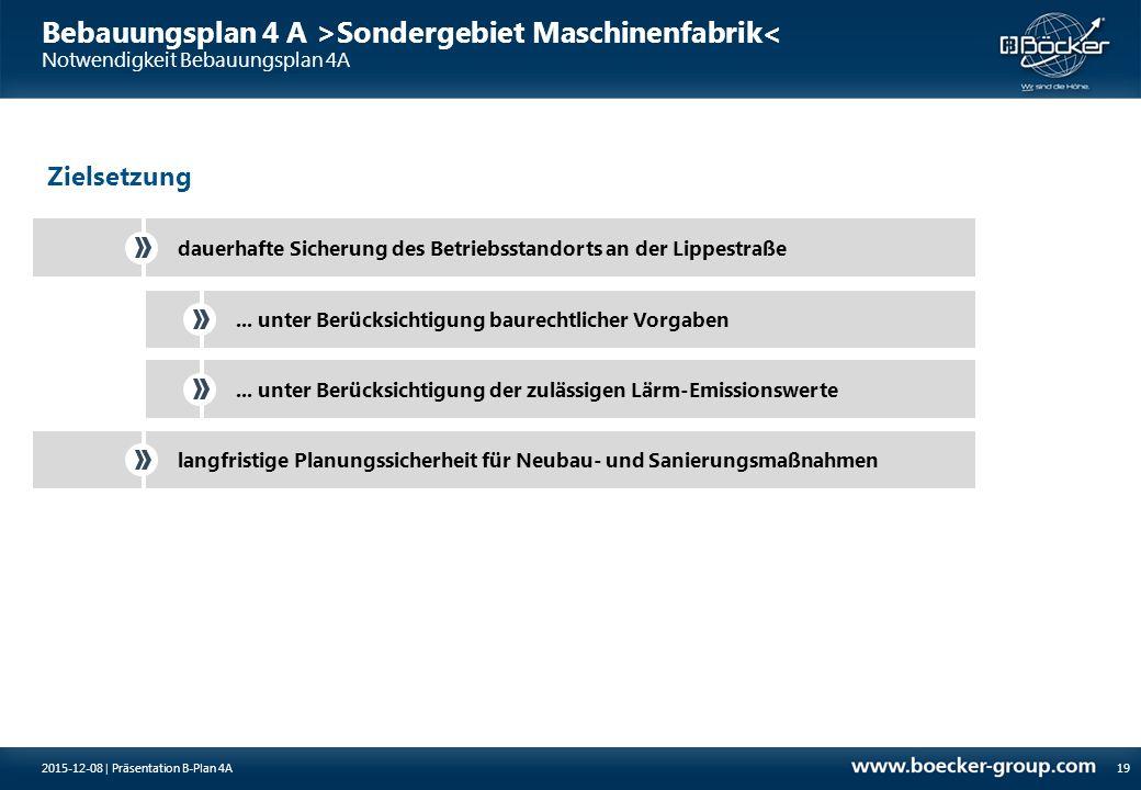 Bebauungsplan 4 A >Sondergebiet Maschinenfabrik< Notwendigkeit Bebauungsplan 4A 19 dauerhafte Sicherung des Betriebsstandorts an der Lippestraße... un