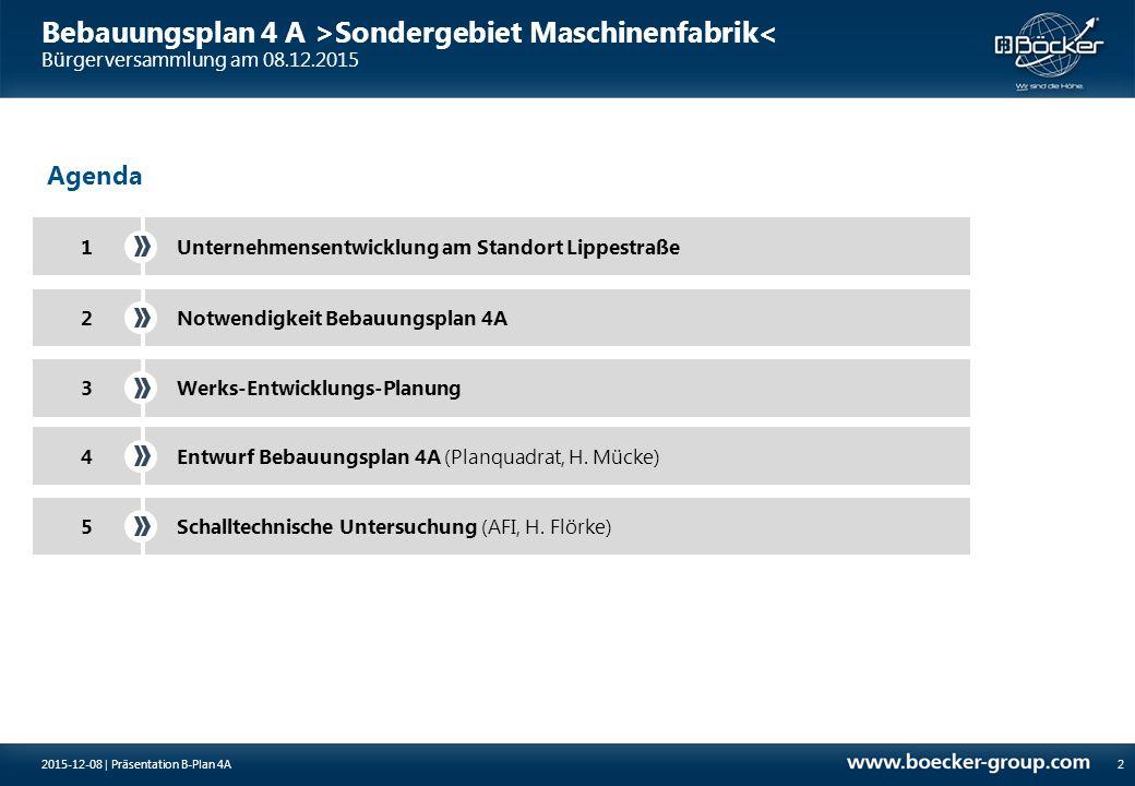 2015-12-08 | Präsentation B-Plan 4A2 Agenda 1Unternehmensentwicklung am Standort Lippestraße Notwendigkeit Bebauungsplan 4A2 3Werks-Entwicklungs-Planu