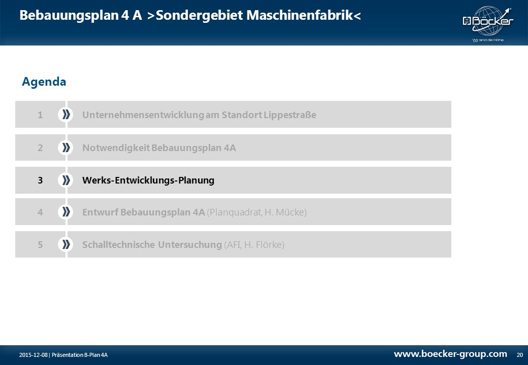Bebauungsplan 4 A >Sondergebiet Maschinenfabrik< 20 Agenda 1Unternehmensentwicklung am Standort Lippestraße Notwendigkeit Bebauungsplan 4A2 3Werks-Ent
