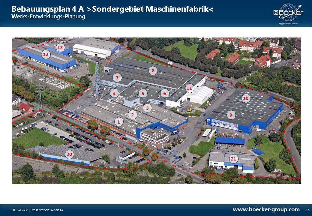 Bebauungsplan 4 A >Sondergebiet Maschinenfabrik< Werks-Entwicklungs-Planung 222015-12-08 | Präsentation B-Plan 4A 1 2 3 456 7 8 9 10 11 12 13 20 21