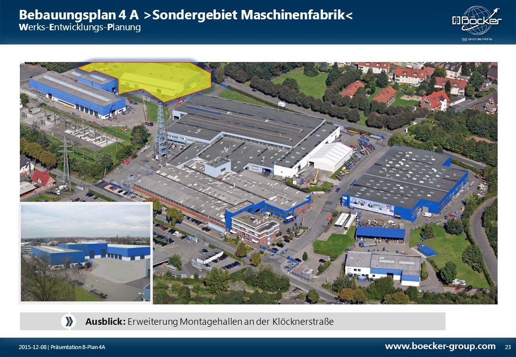 Bebauungsplan 4 A >Sondergebiet Maschinenfabrik< Werks-Entwicklungs-Planung 23 Ausblick: Erweiterung Montagehallen an der Klöcknerstraße 2015-12-08 |