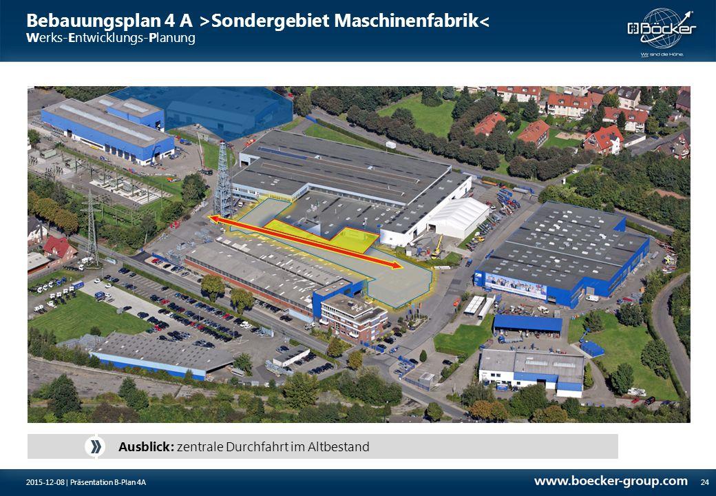 Bebauungsplan 4 A >Sondergebiet Maschinenfabrik< Werks-Entwicklungs-Planung 24 Ausblick: zentrale Durchfahrt im Altbestand 2015-12-08 | Präsentation B