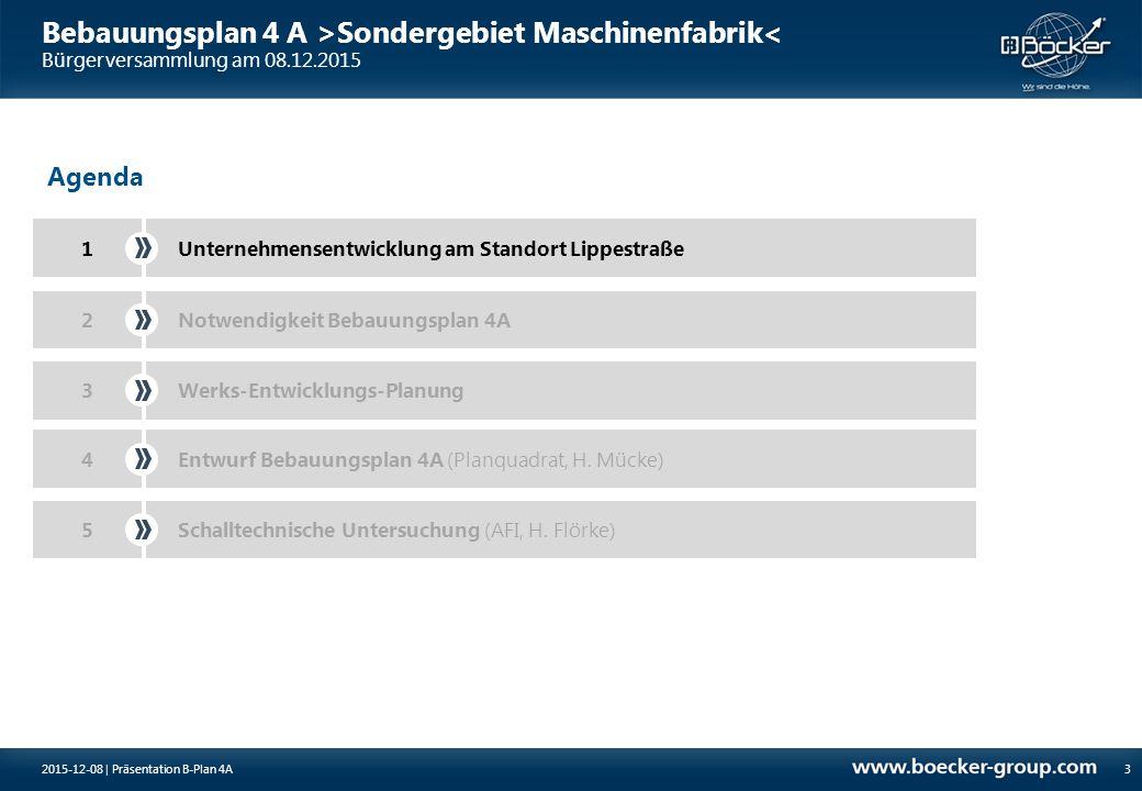 Bebauungsplan 4 A >Sondergebiet Maschinenfabrik< Bürgerversammlung am 08.12.2015 3 Agenda 1Unternehmensentwicklung am Standort Lippestraße Notwendigke