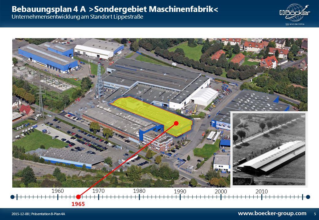 1965 197019801960 199020002010 Bebauungsplan 4 A >Sondergebiet Maschinenfabrik< Unternehmensentwicklung am Standort Lippestraße 52015-12-08 | Präsenta