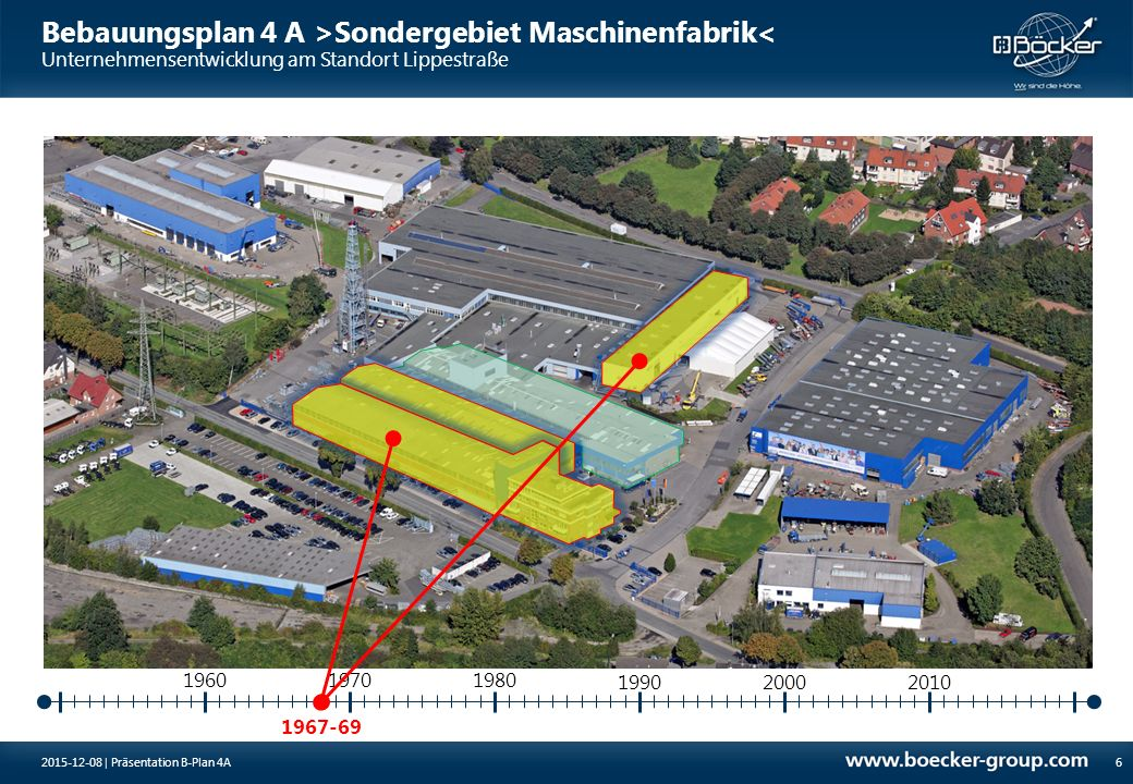 Bebauungsplan 4 A >Sondergebiet Maschinenfabrik< Unternehmensentwicklung am Standort Lippestraße 1973-76 19701980 7 1960 199020002010 2015-12-08 | Präsentation B-Plan 4A