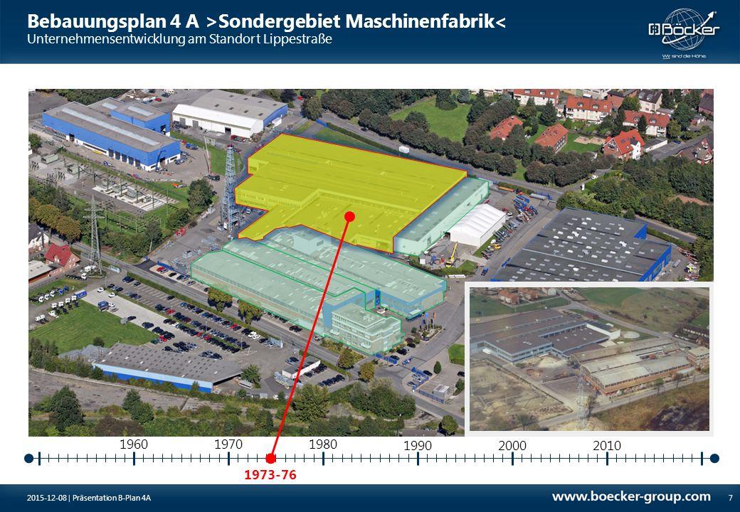 Bebauungsplan 4 A >Sondergebiet Maschinenfabrik< Unternehmensentwicklung am Standort Lippestraße 1981-82 19701980 8 1960 199020002010 2015-12-08 | Präsentation B-Plan 4A