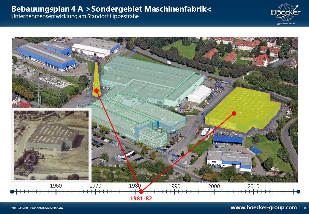 Bebauungsplan 4 A >Sondergebiet Maschinenfabrik< Unternehmensentwicklung am Standort Lippestraße 1988-89 19701980 9 1960 199020002010 2015-12-08 | Präsentation B-Plan 4A