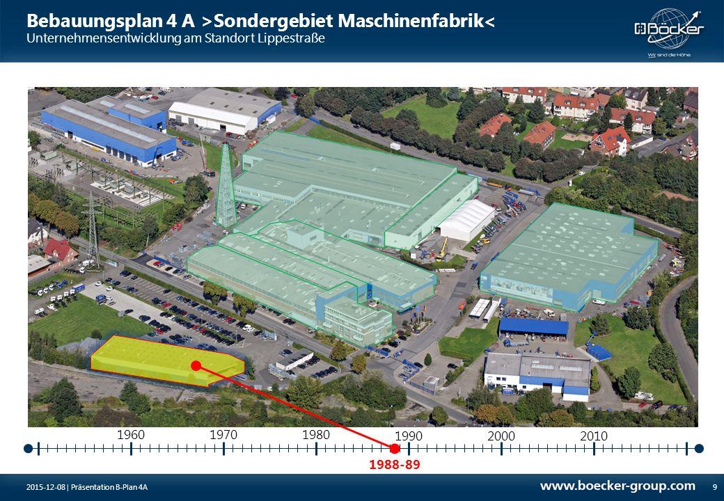 Bebauungsplan 4 A >Sondergebiet Maschinenfabrik< 20 Agenda 1Unternehmensentwicklung am Standort Lippestraße Notwendigkeit Bebauungsplan 4A2 3Werks-Entwicklungs-Planung 2015-12-08 | Präsentation B-Plan 4A Entwurf Bebauungsplan 4A (Planquadrat, H.