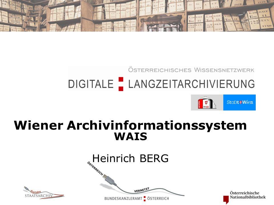 Wiener Archivinformationssystem WAIS Heinrich BERG