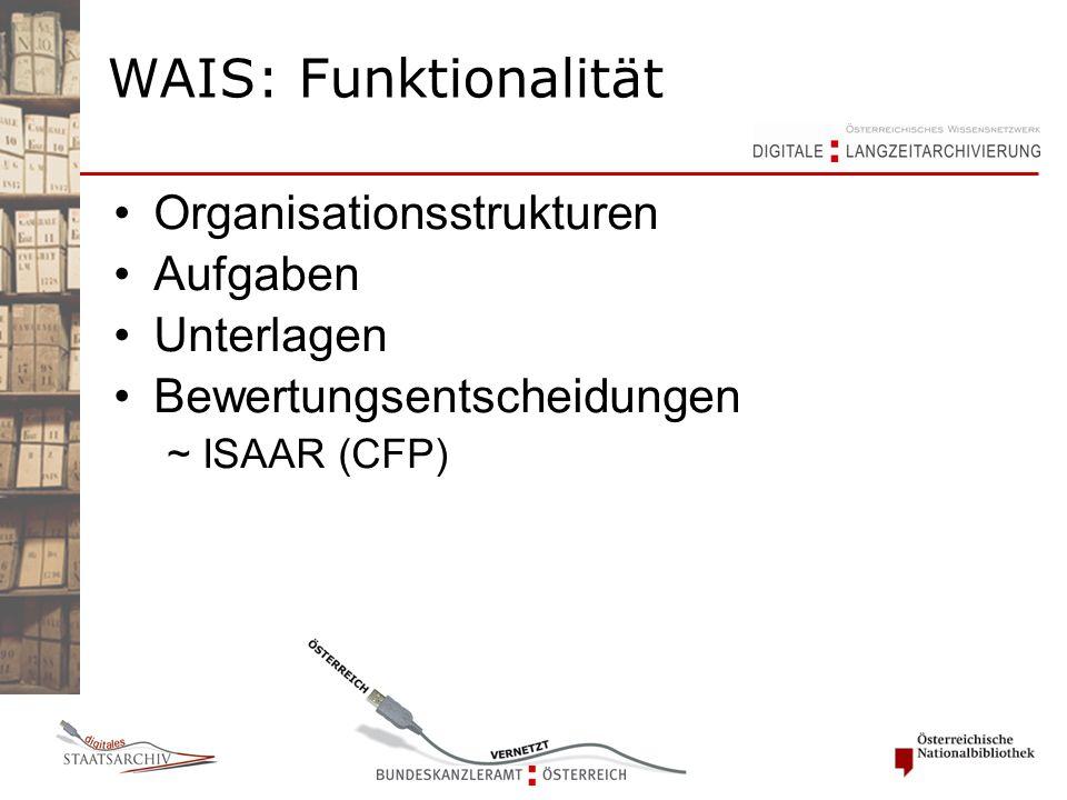 Organisationsstrukturen Aufgaben Unterlagen Bewertungsentscheidungen ~ ISAAR (CFP) WAIS: Funktionalität