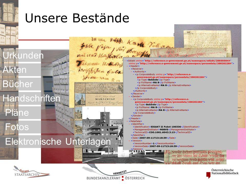 Urkunden Akten Bücher Handschriften Pläne Fotos Elektronische Unterlagen Unsere Bestände